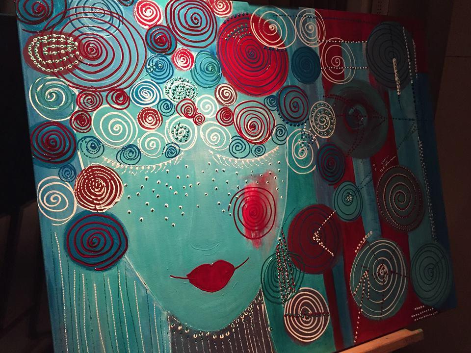 'Caleidoscoop van dromen'. Acryl op katoen. 100 x 90.