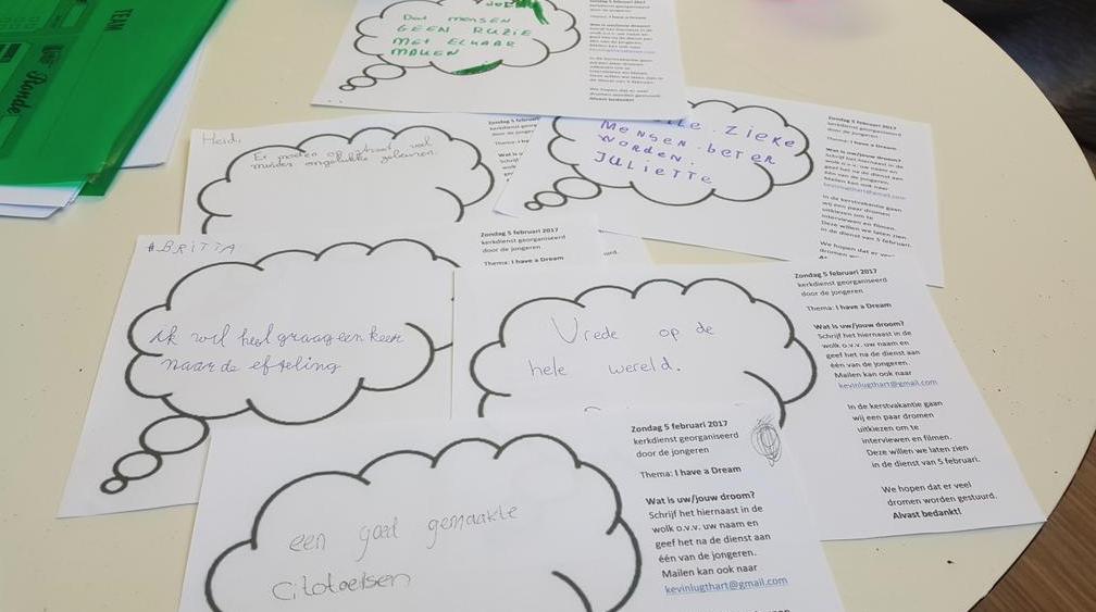 Jongeren stellen kerkdienst samen over dromen